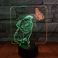 蝶と犬の3Dビジョンナイトランプ創造的なカラフルなタッチ充電LEDステレオランプギフトランプ