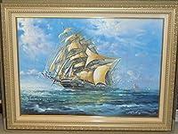 イタリア絵画 油絵 レナート 「帆船②」 インテリア 海の景色 竣工祝い 新築祝い