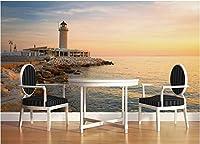 Bzbhart 3D壁紙シルク壁画壁ステッカーエーゲ海の灯台夕焼け絵画 壁壁画壁画壁紙-250cmx175cm