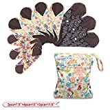 Teamoy 10Pcs Sanitary Pad, Reusable Washable Cloth Menstrual Pads/Panty Liners with Wet Bag, Super-Absorbent, Soft and Comfortable(3pcs×7.9''+4pcs×10''+3pcs×11.6'')
