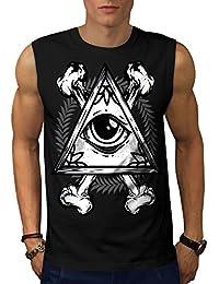 Wellcoda イルミナティ 眼 ビンテージ 男性用 S-5XL 袖なしTシャツ