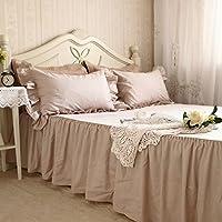 ラクダ色のベッドスカート 綿100% 無地120*200+45cm