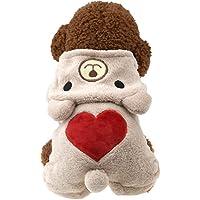 Austrake 犬の服 可愛いこぐま ハート型 秋冬服 フード付き ドッグウェア 2色4サイズ選択可能