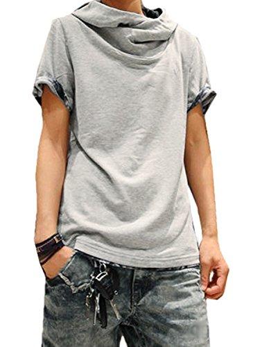 BUZZ WEAR [バズ ウェア] Tシャツ メンズ パーカー 半袖 無地 アフガンネック トップス コーデ グレー 黒 白 春 夏 秋 メンズファッション XL ライトグレー