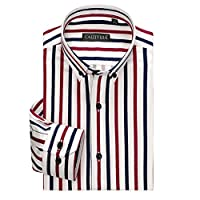MUZJOY ワイシャツ ビジネス メンズ 長袖 形態安定 ノーアイロン 高級仕様綿100% 吸水速乾 通気性に優れ 四季節【スリムフィット ストライプ 4色 】