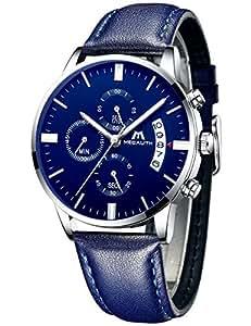 [メガリス]MEGALITH 腕時計ブルー 時計メンズ クロノグラフ防水ウオッチ薄型 多針アナログクオーツ腕時計レザー 日付表示 ラグジュアリー おしゃれ ビジネス カジュアル 男性腕時計