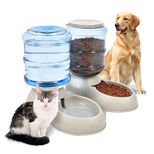 ペット自動給水器 セット Rakuby ペット給水器 + 給餌器 3.75L 大容量 ペットボトル 猫 犬自動給水器 自動 軽量 便利 イヌ ネコ 犬猫お留守対策 ペット用の給水機 餌やり器 安心 電源不要