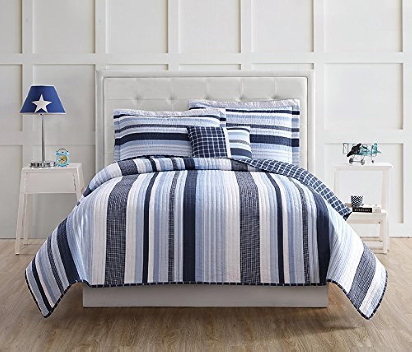 目に見える銀行裁量Laura Hart QS1939FU4-2600 Kids Mason Stripe Full Quilt Mini Set Blue/White [並行輸入品]