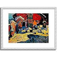 ワシリー・カンディンスキー「Friedhof in Kochel. 1909 」 インテリア アート 絵画 プリント 額装作品 フレーム:装飾(白) サイズ:S (221mm X 272mm)