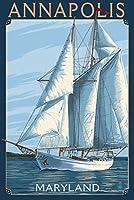 アナポリス、メリーランド州–ヨットシーン 24 x 36 Giclee Print LANT-44916-24x36
