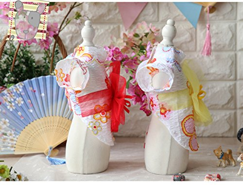 犬の服 可愛い犬浴衣 春夏用 軽い薄手のドッグウェア 花火大会やお祭りの着物 Sサイズ~XLサイズ (S, レッド)