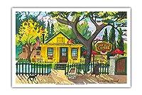 """""""Hidden House"""" コー??ヒーショップ - サンフアンカピストラーノ、カリフォルニア州 - オリジナルの水彩画からのもの によって作成された ロビン アルトマン - アートポスター - 31cm x 46cm"""