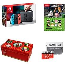 Nintendo Switch Joy-Con (L) ネオンブルー/ (R) ネオンレッド+ニンテンドープリペイドカード4000円(Minecraft)+【Amazon.co.jp限定】ギフトラッピングキット【大】 (マリオ) +Samsung microSDXCカード 128GB EVO Plus MB-MC128GA/ECO