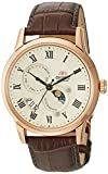Orient Men 's ' Sun and Moonバージョン3' Japanese AutomaticステンレススチールandレザーCasual Watch, Color : Brown (Model : fak00001y0)