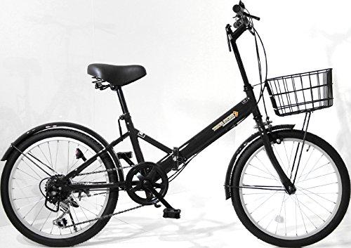 折りたたみ自転車 20インチ AJ-08 シマノ6段変速ギア フロントライト・ロック錠・カゴ付き 折畳み 自転車 折り畳み自転車 ミニベロ 小径車 (ブラック)