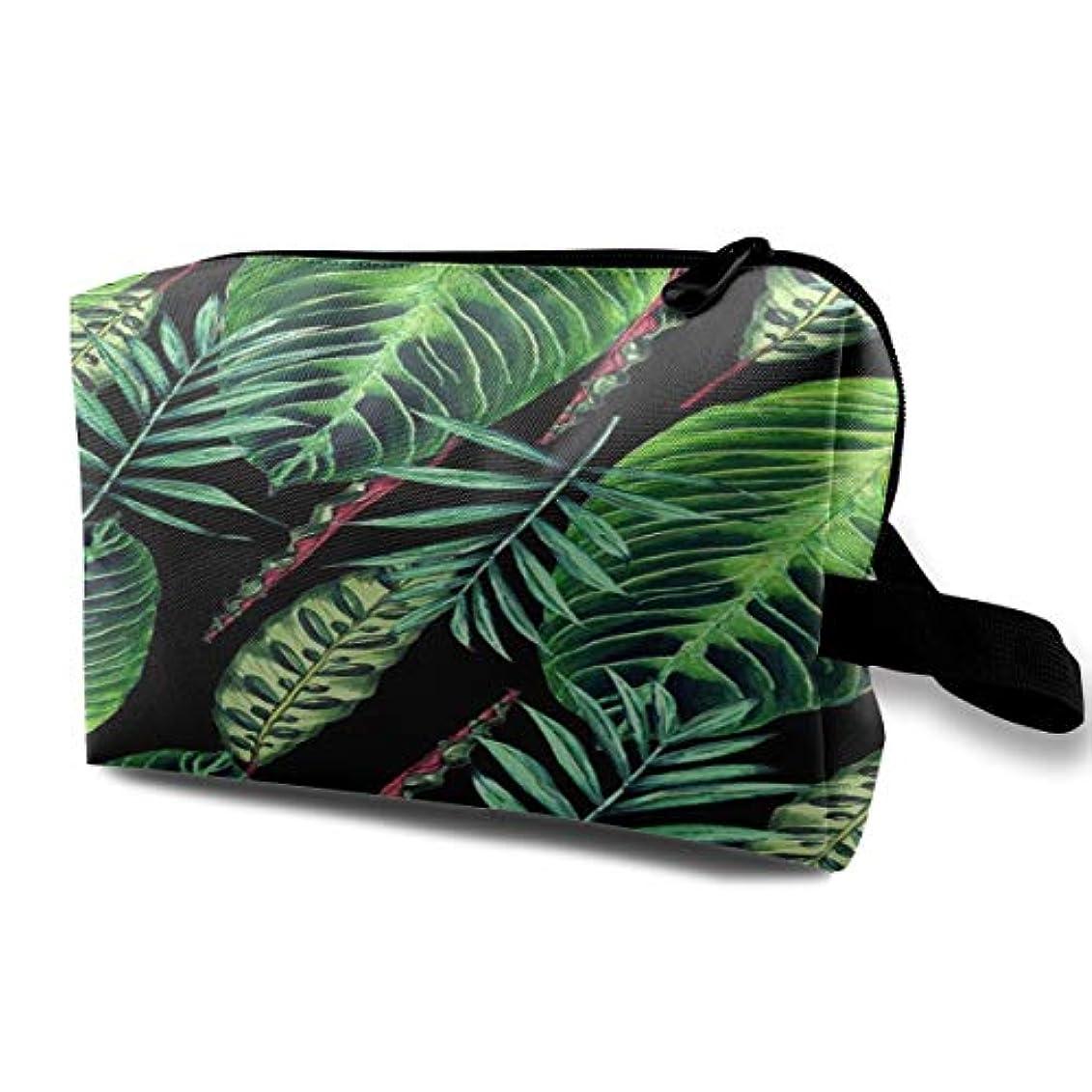 まもなくマイコン主人Banana Leaf Pattern 収納ポーチ 化粧ポーチ 大容量 軽量 耐久性 ハンドル付持ち運び便利。入れ 自宅?出張?旅行?アウトドア撮影などに対応。メンズ レディース トラベルグッズ