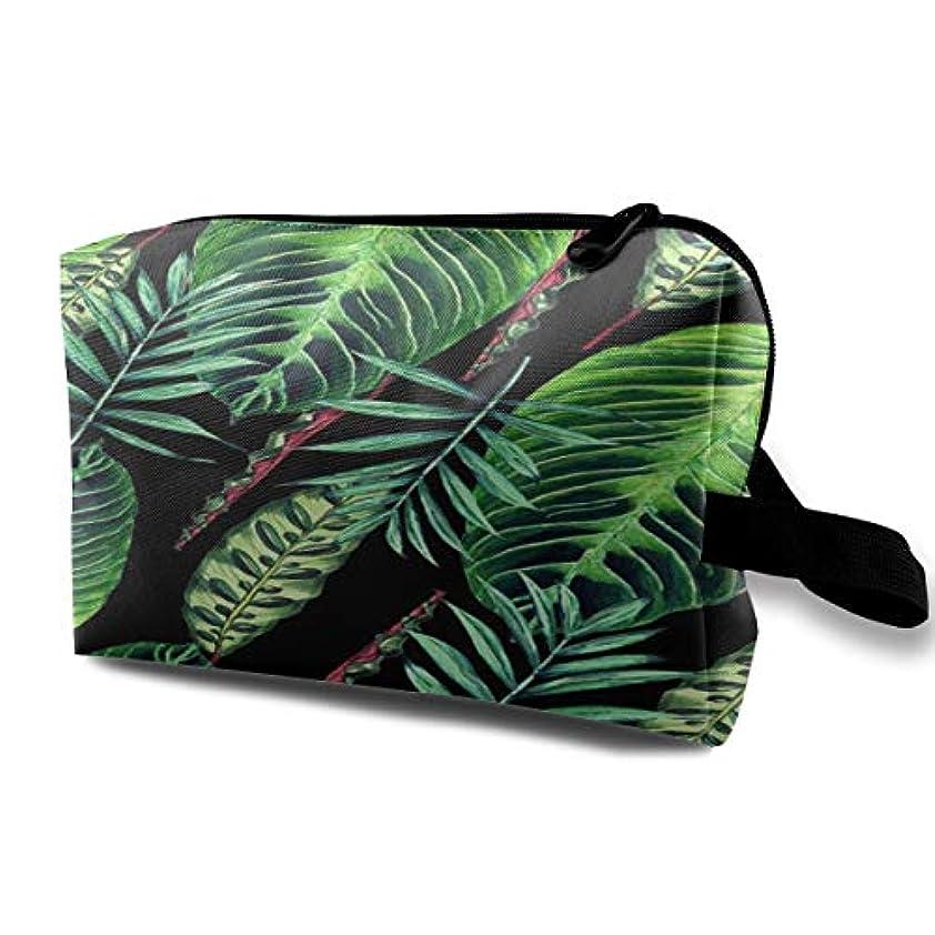 長いですほめるパワーセルBanana Leaf Pattern 収納ポーチ 化粧ポーチ 大容量 軽量 耐久性 ハンドル付持ち運び便利。入れ 自宅?出張?旅行?アウトドア撮影などに対応。メンズ レディース トラベルグッズ