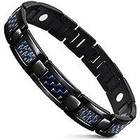 JFUME メンズブルーカーボンファイバーブレスレット 抗疲労 睡眠改善 磁気ステンレス鋼のブレスレット 健康 ブラック 22cm 【サイズ調整工具が付属】