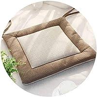 リネンオフィスの畳のクッションマット夏の通気性のシンプルな家庭食卓のクッション,(正方形)ライトコーヒーサイド+ライスホワイトラーメン,直径45*45*厚4cm