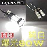 純白ホワイト 12/24V兼用 爆光80W LED フォグランプ H3 左右2個セット 純白ホワイト (H3)