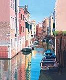 ヴェネツィア、運河リフレクションズ - アーカイブ紙上のファインアートプリント - 小 : 47 cms X 57 cms