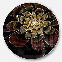 DesignArt mt11955-c38ブラウンFractal Flower withシルバー星モダン花柄ラウンドウィンドーウォールアートディスクの38、ブラック、38x 38