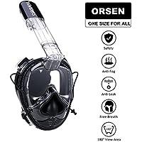 ORSEN シュノーケルマスク ダイビングマスク フルフェイス型 180のワイドビュー 防曇/漏れ防止設計 スポーツカメラ/GoPro取付可能 自由に呼吸可能/Easybreath 男女兼用 大人/子供兼用 フリーサイズ