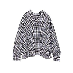 [ミラオーウェン] シャツ 麻SETUP短丈ワイドシャツ 09WFT191100 Check 日本 1 (日本サイズ9 号相当)