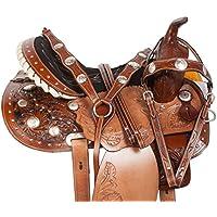 美しいプレミアム手彫りDeep SeatクリスタルWestern Barrel Racing Trail Horseサドルタックセット含ま