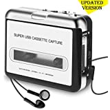 [Updated Version] Cassette Player Portable, ASINNO Cassette Player to MP3 Converter CD Music/Walkman Tapes Recorder Via USB Compatible with Laptops&PC with Earphones