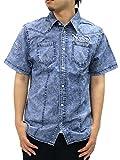 NORTON(ノートン) 大きいサイズ メンズ シャツ 半袖 デニム 刺繍 ブルー 3L