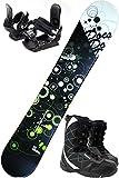 スノボ3点セット ZUMA DOCS ブラック/グリーン 150cm (ワクシング施工) 金具M/Lサイズ ブーツ27cm