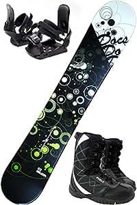 スノボ3点セット ZUMA DOCS ブラック/グリーン 150cm 金具S/Mサイズ ブーツ23cm