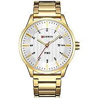 Men's Fashion Steel Belt Week Calendar Life Waterproof Sports Quartz Watch Stainless Steel Men's Watch (Gold White)