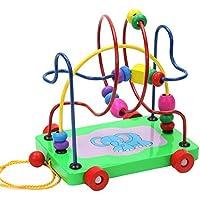 Techecho ビーズ 迷路 フルーツビーズ 木製玩具 教育玩具 3本 木製ビーズ 子供 3 4 5歳 木製教育玩具