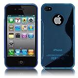Apple iPhone4 / 4S ケース TPU グリップ カバー ( アイフォン 4 docomo au Softbank SIMフリー 対応 ) 薄型 軽量 / 滑止め / ソフト フィット【Design S Blue (青)】…