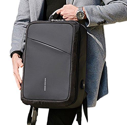 3WAY バッグ ビジネス 防水 盗難 防止付 充電ケーブル リュック メンズ 出張 ビジネス 軽量 A4 PC収納 スクエアリュック (ブラック)