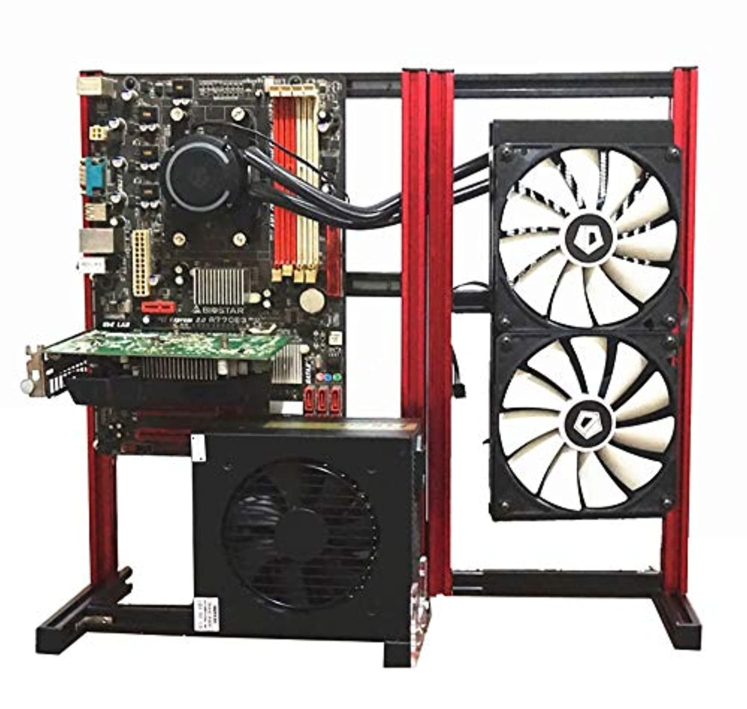 グレーフォークITX MATX ATX PC テストベンチ 拡張 折りたたみ式 コンピューター オープン PIO フレーム オーバークロック エアケース アルミニウム HTPC サポート グラフィックスカード ブラック