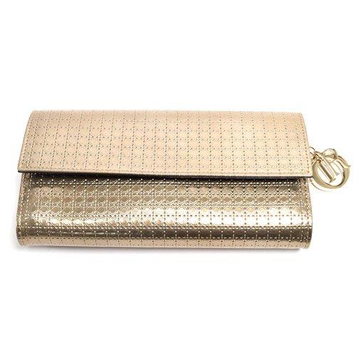 (クリスチャンディオール)Christian Dior チェーン ウォレット 財布 クラッチ レザー シャンパンゴールド [中古]