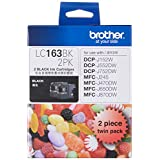 Brother LC163BK 2PK Original Ink Cartridge Compatible with DCP/MFC Series, 600 Pages, Black