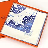 エルメス スカーフ エルメス スカーフ カレ90 (三枚の葉 TROiS FEUiLLES シルク100% 白 青) HERMES 【中古】
