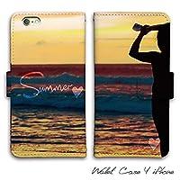 iPhone7ケース 手帳型 SUMMER ビーチ サーフ レザー (G)