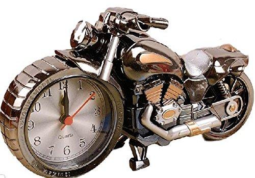 morningplace バイク ハーレー風 目覚まし時計 かっこいい メタリック クラシック インテリア に ブラック
