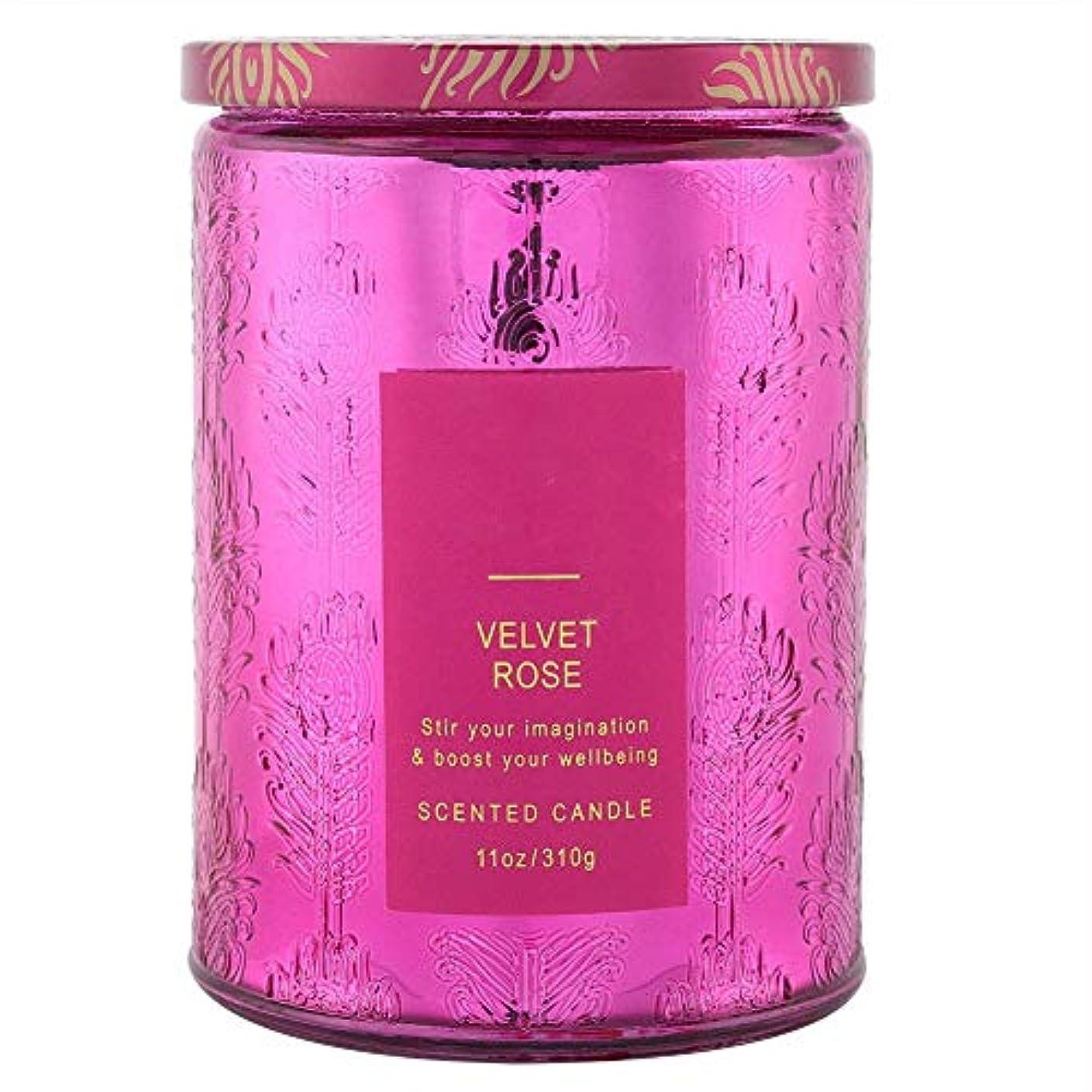 大豆キャンドルエッセンシャルオイル、繊細な香りのキャンドル甘い花の香りワックスローズキャンドルクリアガラスボトル付き