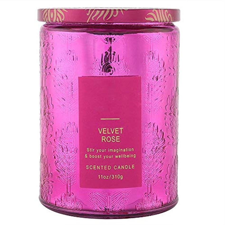 計画興奮する持続的大豆キャンドルエッセンシャルオイル、繊細な香りのキャンドル甘い花の香りワックスローズキャンドルクリアガラスボトル付き