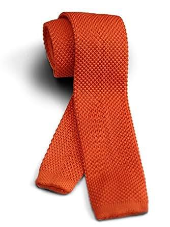 【ダブリューアンドエム】 W&M ニットタイ ナロータイ ネクタイ ビジネス 24色展開 洗濯可能 オレンジ 橙 無地 ソリッド | ネクタイ 通販