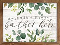 P. GRAHAM DUNN Family & Friends Gather Here Whitewash Look Greenery 16 x 12 Inch Pine Wood Framed Wall Art Plaque [並行輸入品]