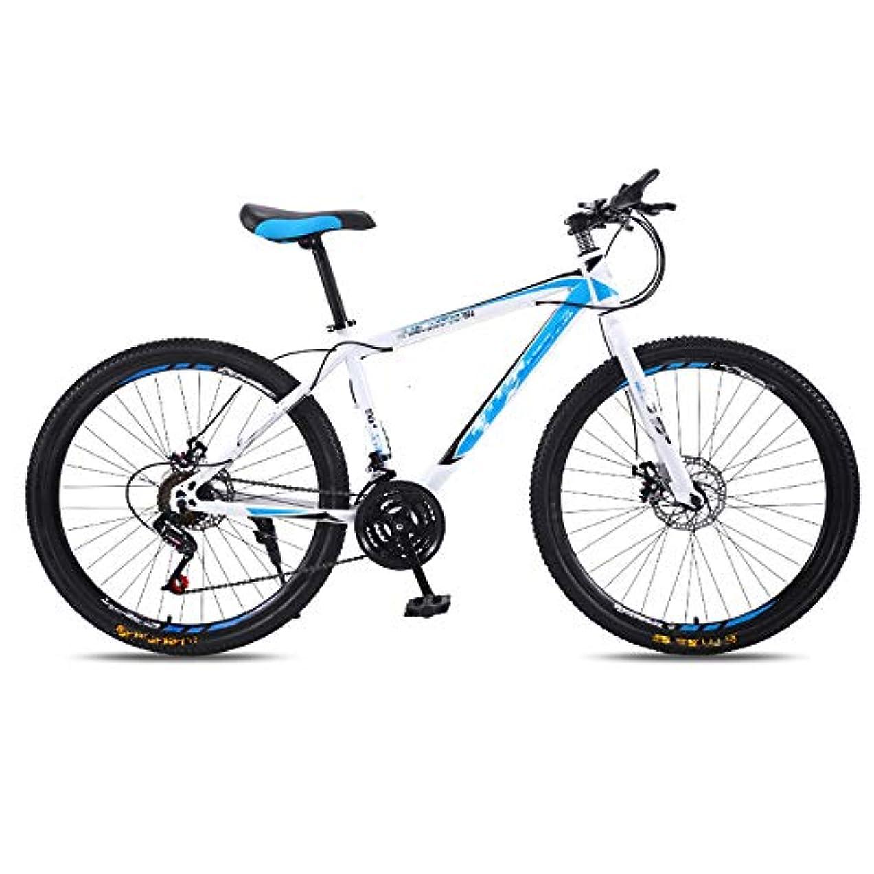 気味の悪いキリスト教東ティモール大人の自転車、可変速自転車、27-スピード_24インチと26インチ、ダブルディスクブレーキレース、オフロード衝撃吸収、ハイエンドバージョン,White blue,26 inches