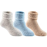Lian LifeStyle Boy's 3 Pairs Extra Thick Wool Boot Socks Crew Plain Color LK01 (0Y-5Y)