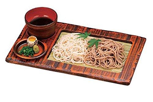 木製荒彫くり抜き長盛ざる栃塗 竹ス そばチョコ 薬味皿 セット
